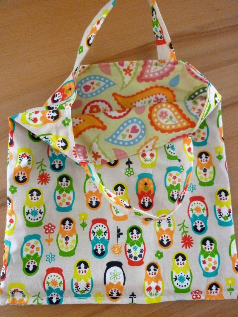 Kleinesbild - Kindertasche * Stoffbeutel * Einkaufstasche aus Baumwollstoffen genäht kaufen * Wendetasche ~ Matroschka ~