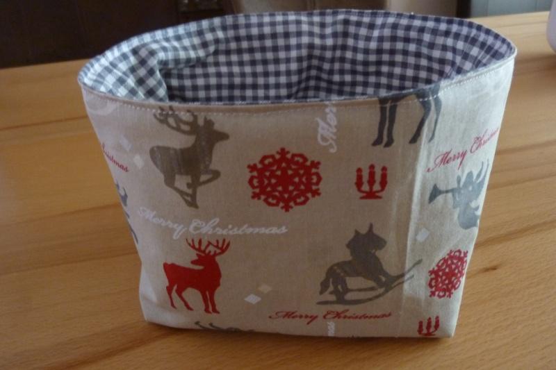 Kleinesbild - Utensilo * Aufbewahrungskorb aus Baumwollstoffen genäht kaufen * Körbchen ~ Weihnachts- Winterzeit