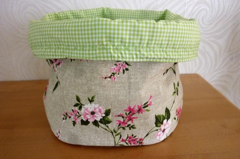 Kleinesbild - Utensilo  aus Stoff genäht kaufen * Brötchenkorb * Aufbewahrungskorb  * Körbchen mit Blumenranken ~ Stoffkorb