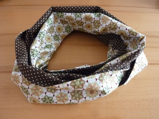 Kleinesbild - Schlauchschal genäht aus Baumwollstoffen kaufen* ~ * Loop ~  Wendeschal mit Blüten und Pünktchen ~ Herbst ~ Halstuch