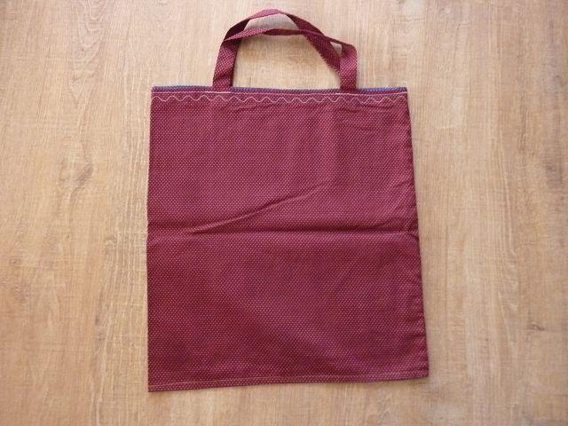 Kleinesbild - Einkaufstasche oder Stoffbeutel  aus Baumwollstoffen genäht in weinrot und blau kaufen~*~  Pünktchen-Shopper/Wendetasche