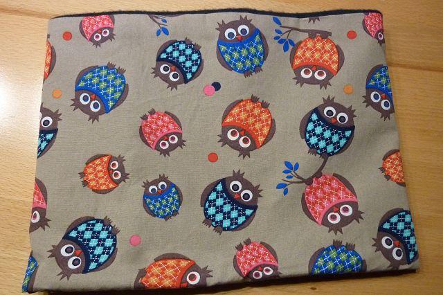 Kleinesbild - Kinderloop aus Baumwollstoff genäht in blau mit Eulen kaufen ~ Schlauchschal ~ Loop ~ Fleece ~ Schlupfschal ~ Halssocke ~