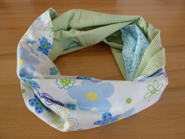 Kleinesbild - Schlauchschal bzw. Loop aus Baumwollstoffen im Patchworklook genäht kaufen ~ Loop ~ * ~ Blumenmuster ~