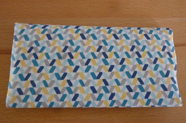Kleinesbild - Täschchen bzw. kleines Portemonnaie aus Baumwollstoff mit blaugelbem Muster genäht kaufen