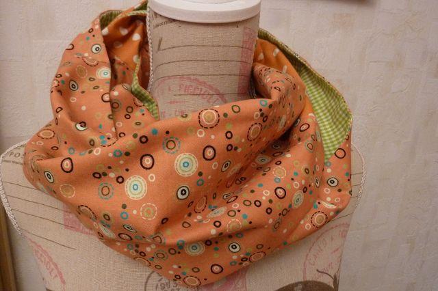 Kleinesbild -  Retro ~~Schlauchschal genäht aus Baumwollstoffen kaufen* ~ * Loop ~  Wendeschal mit Karo und Pünktchen in orange und grün~