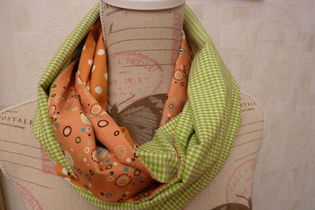 -  Retro ~~Schlauchschal genäht aus Baumwollstoffen kaufen* ~ * Loop ~  Wendeschal mit Karo und Pünktchen in orange und grün~  -  Retro ~~Schlauchschal genäht aus Baumwollstoffen kaufen* ~ * Loop ~  Wendeschal mit Karo und Pünktchen in orange und grün~