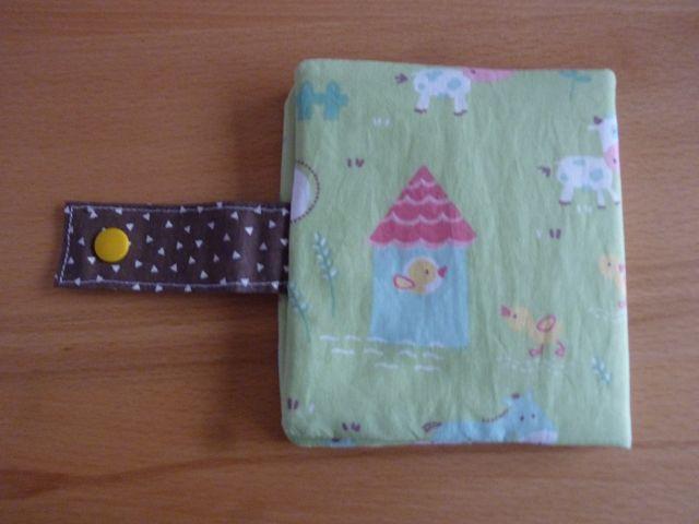 Kleinesbild - Genähte Minibuchhülle aus Baumwollstoff mit Tiermotiven kaufen ~~ Buchhülle für Minibücher~~ zum Mitnehmen für Unterwegs
