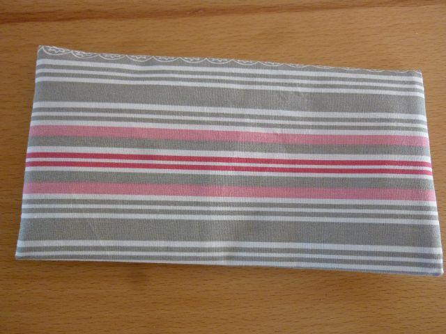 Kleinesbild - Täschchen bzw. kleines Portemonnaie aus Baumwollstoff in hellgrau und rosa mit Streifenmuster genäht kaufen