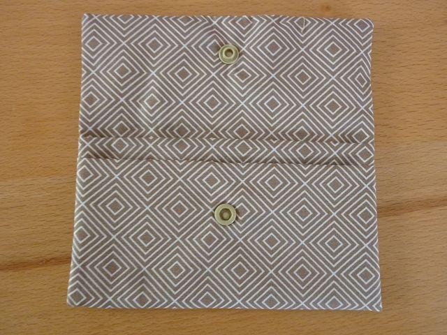 Kleinesbild - Täschchen bzw. kleines Portemonnaie aus Baumwollstoff in beige oder rot mit Rautenmuster genäht kaufen