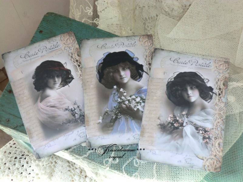 - Schönes 3-er Postkarten Set mit romantischen Vintage Motiven in feinem französischem Stil.  - Schönes 3-er Postkarten Set mit romantischen Vintage Motiven in feinem französischem Stil.