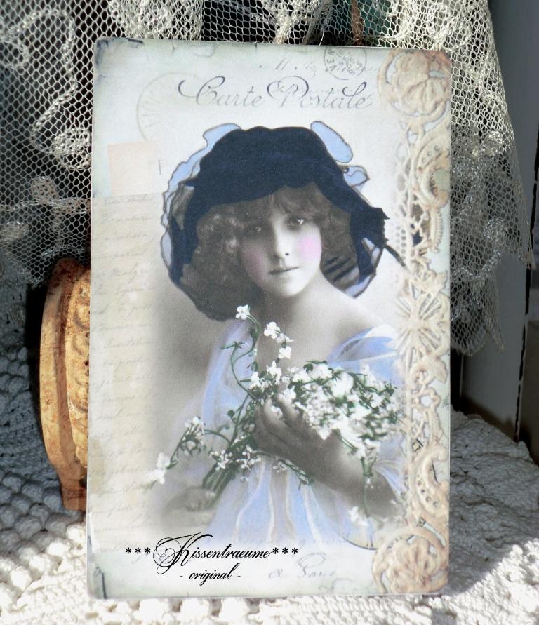 Kleinesbild - Schönes 3-er Postkarten Set mit romantischen Vintage Motiven in feinem französischem Stil.