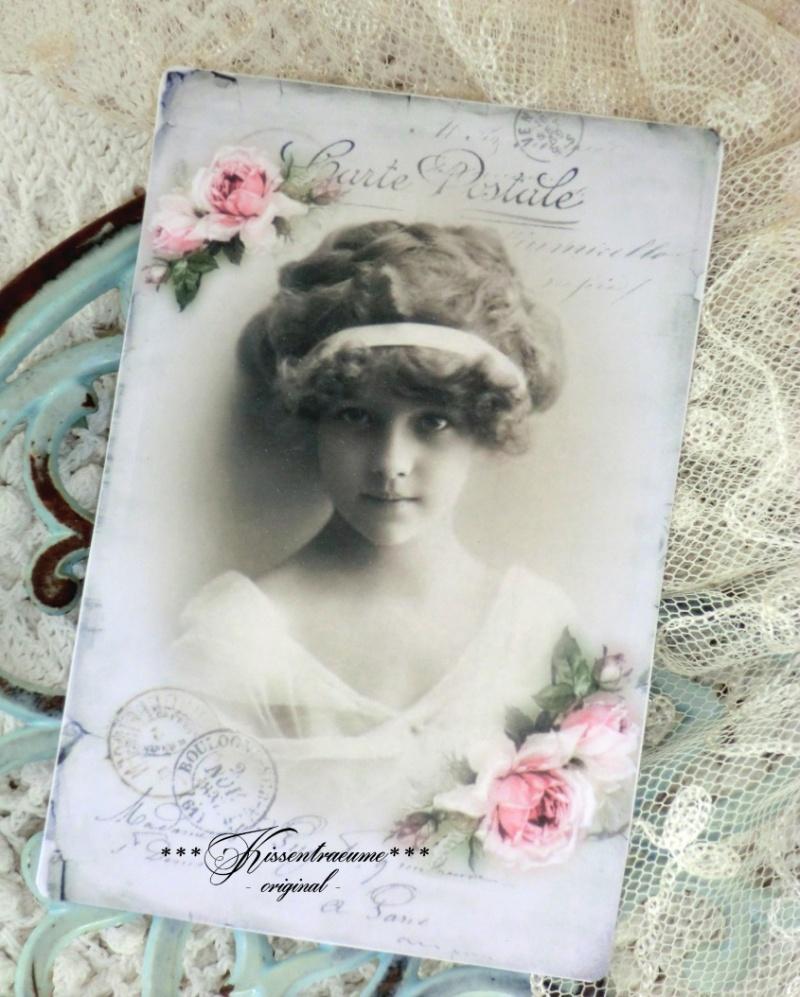 Kleinesbild -  Romantische Grußkarten * Vintage Postkarten * Deko Karten Set * mit tollen Damen Motiven * und feinen Rosen.