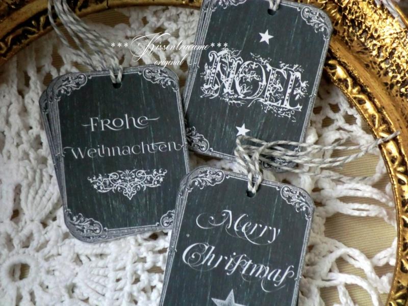 Kleinesbild - 9-er Set Geschenkanhänger / Weihnachtsanhänger -kleine Tafel- in dunkelgrau & mit Weihnachtsgrüssen versehen.