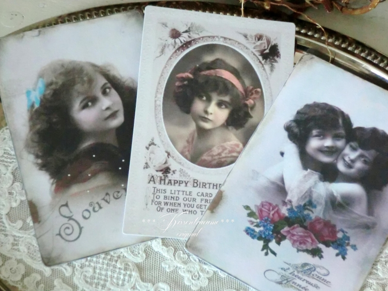 Kleinesbild - Feine Postkarten * Grußkarten * Vintage Deko Karten * als 3-er Set, mit romantischen Vintage Motiven
