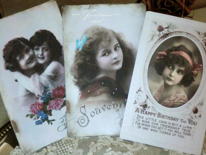 - Feine Postkarten * Grußkarten * Vintage Deko Karten * als 3-er Set, mit romantischen Vintage Motiven  - Feine Postkarten * Grußkarten * Vintage Deko Karten * als 3-er Set, mit romantischen Vintage Motiven
