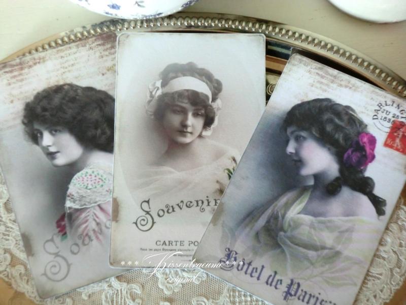 - 3 schöne Postkarten / Grußkarten -Souvenir-, als 3-er Set mit romantischen Vintage Motiven    - 3 schöne Postkarten / Grußkarten -Souvenir-, als 3-er Set mit romantischen Vintage Motiven