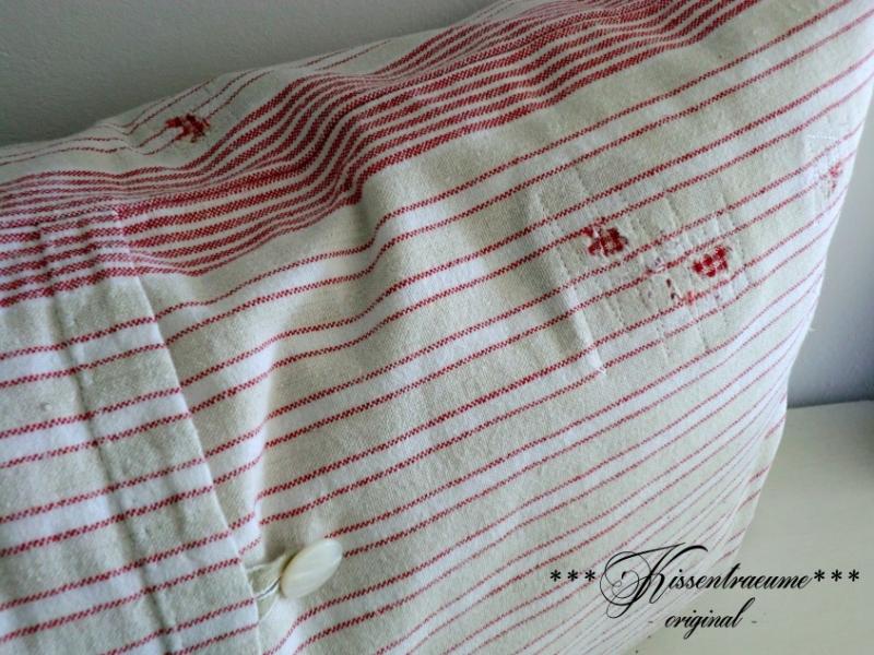 Kleinesbild - Shabby Kissen, Vintage Kissen gestreift, Kissenbezug in hellem Beigeton mit roten Streifen, aus Vintage Baumwolle.