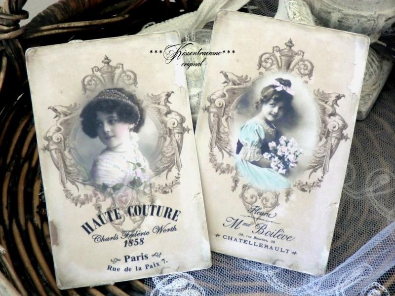 Kleinesbild - Shabby Grußkarten * Vintage Deko Karten * romantische Postkarten * Brocante Deko * in zarten Grau-Sepia * als 6-er Set * im Vintage Stil