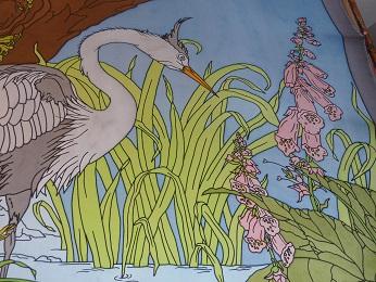 Kleinesbild - Seidentuch mit einem stolzen Graureiher der im Teich steht