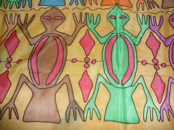 Kleinesbild - Seidentuch mit bunten Echsenähnlichen Tieren im Ehtnostil