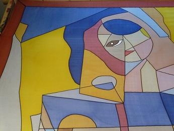 Kleinesbild - Seidentuch mit einem abstraktem Bild einer Frau