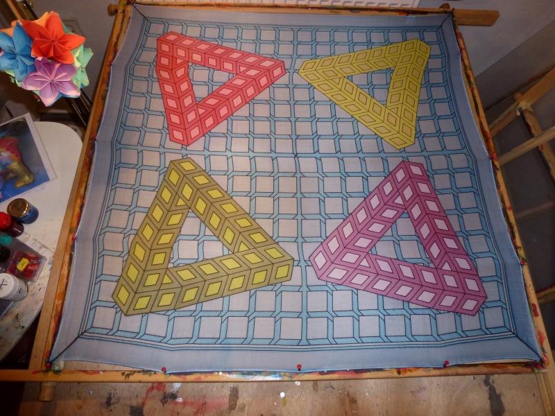 - Seidentuch geometrischen 3D Muster in bunten Farben - Seidentuch geometrischen 3D Muster in bunten Farben