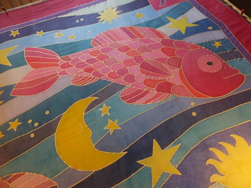 Kleinesbild -  Seidentuch mit zwei großen bunten Sternzeichen Fischen