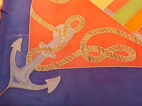 Kleinesbild - Seidentuch im Maritimen Look mit Flaggen, Seilen und Ankern