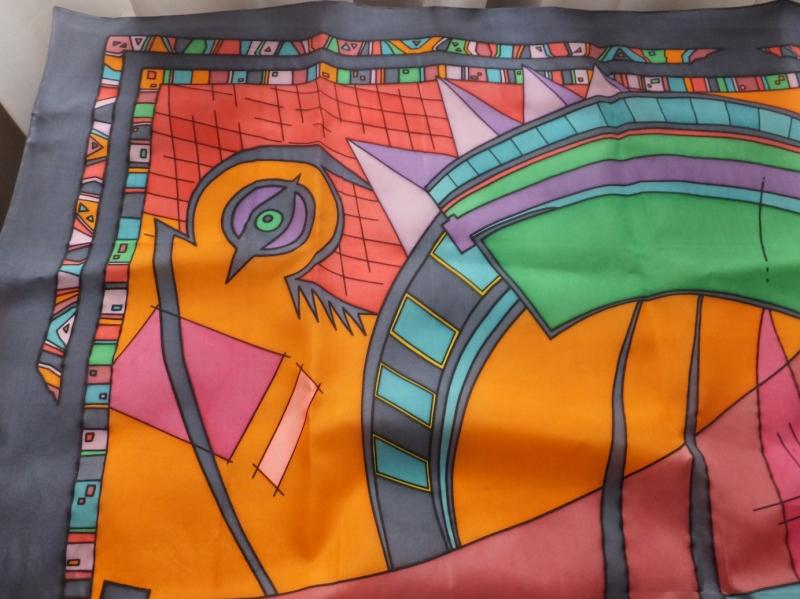 Kleinesbild - Seidentuch mit einem wilden bunten abstrakten Muster