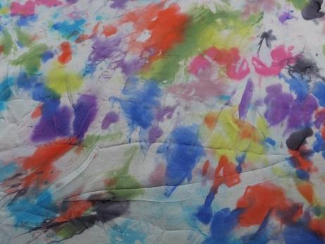 Kleinesbild - Seidentuch mit einem bunten Muster im Batiklook