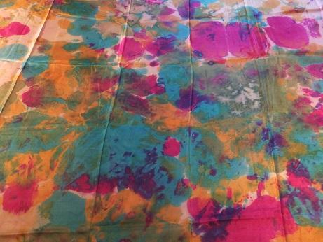 Kleinesbild - Seidentuch mit einem wilden Muster in Türkis und Pink