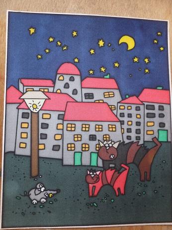- Fensterbild aus Seide mit Katz und Maus im Mondschein - Fensterbild aus Seide mit Katz und Maus im Mondschein
