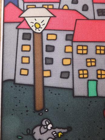 Kleinesbild - Fensterbild aus Seide mit Katz und Maus im Mondschein