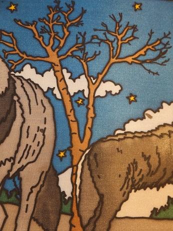 Kleinesbild - Fensterbild aus Seide mit Wölfen im Schnee die den Mond anheulen