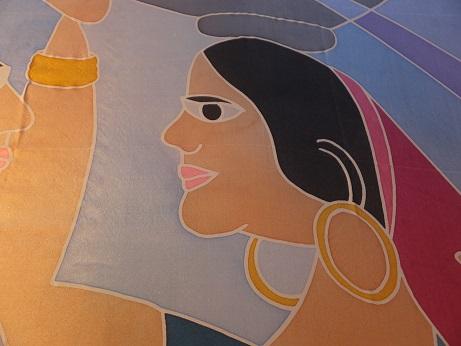 Kleinesbild - Seidentuch zwei Frauen die eine Schale mit Fischen auf dem Kopf tragen