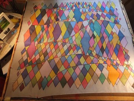 - Seidentuch mit 521 verschiedenen einzelnen viereckigen Flächen - Seidentuch mit 521 verschiedenen einzelnen viereckigen Flächen