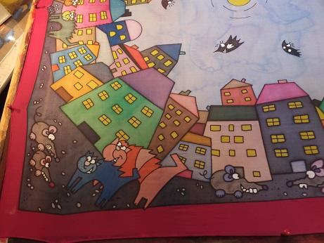 Kleinesbild - Seidentuch mit der Skyline einer bunten Stadt mit Katzen und Mäusen
