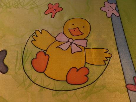 Kleinesbild - Seidentuch mit vielen lustigen gelben kleinen Enten / Ducks