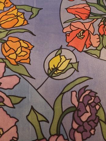 Kleinesbild - Seidentuch mit Blumen in Lila, Rosa, Orange und Gelb