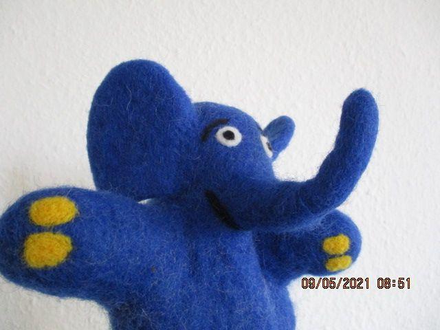 Kleinesbild - Handpuppe, Elefant, handgefilzt