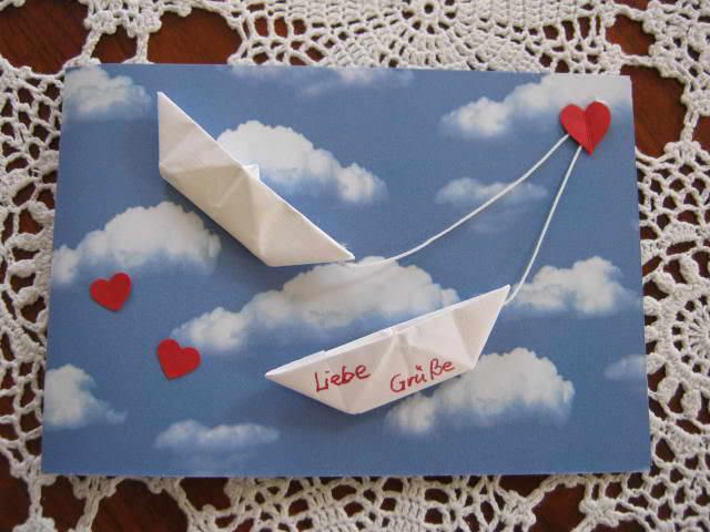 Kleinesbild - Hochzeitskarte, Verlobungskarte, Origamikarte