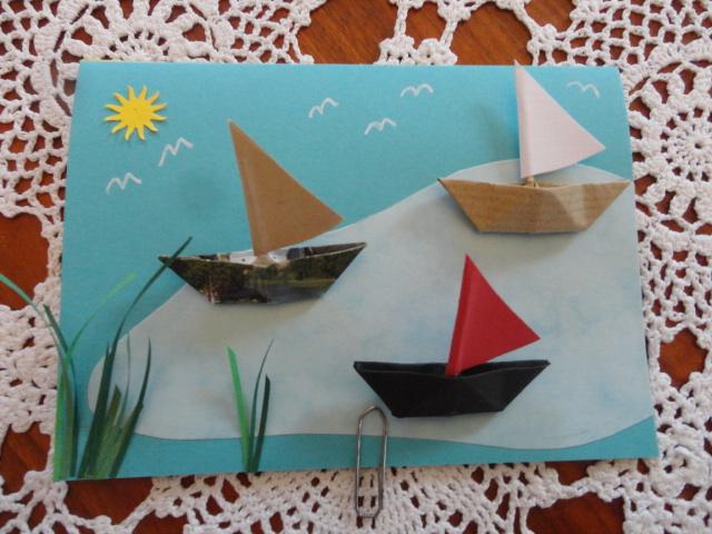 - Karte mit Segelbooten,  Schiff ahoi!! Auf großer Fahrt - Karte mit Segelbooten,  Schiff ahoi!! Auf großer Fahrt