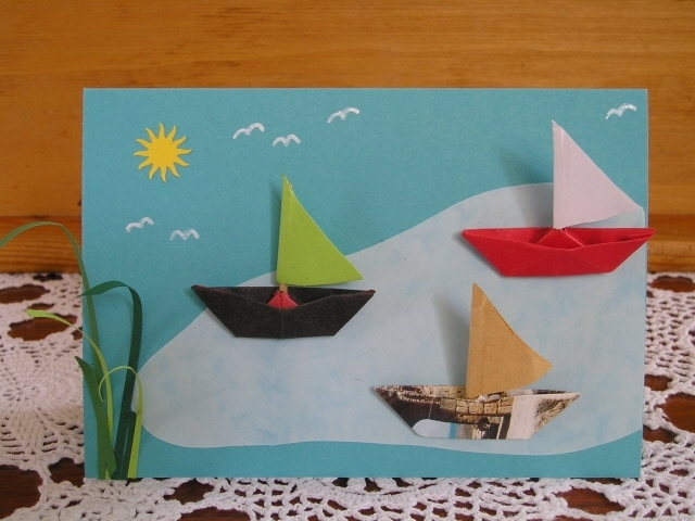 Kleinesbild - Karte mit Segelbooten,  Schiff ahoi!! Auf großer Fahrt
