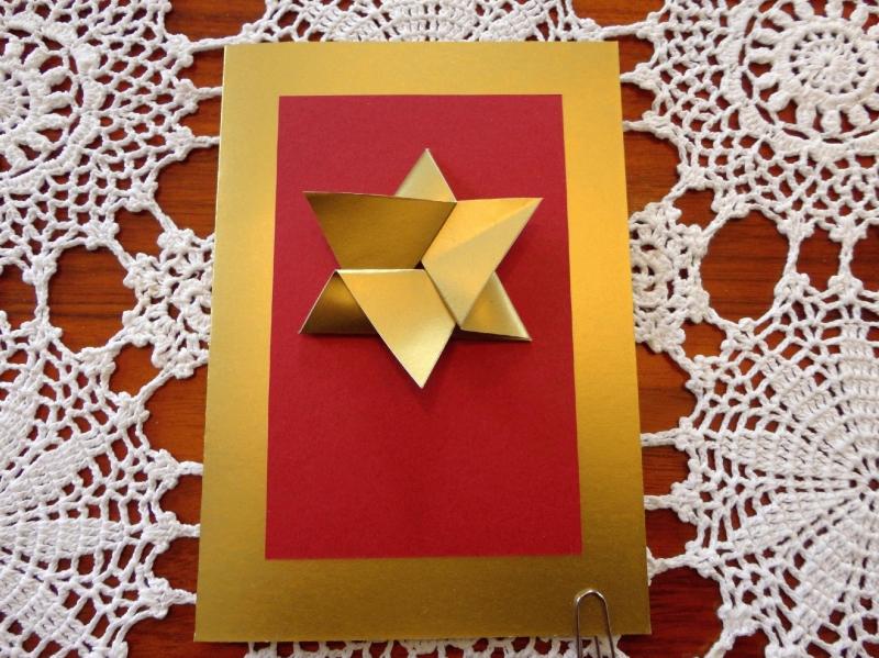 Kleinesbild - Weihnachtskarte Friede, Origamistern