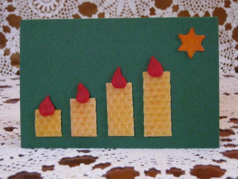 Kleinesbild - Weihnachtskarte 4 Kerzen, Adventskarte