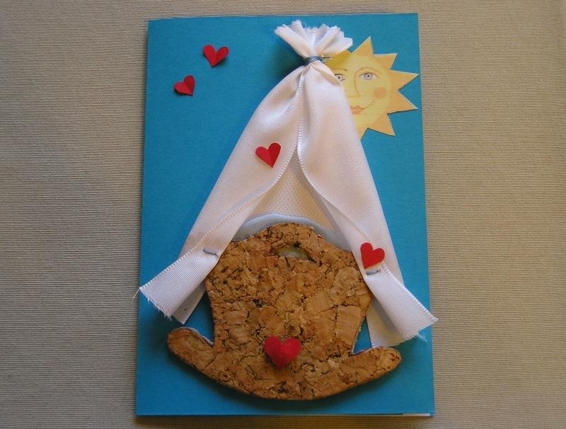 Kleinesbild - Babykarte, Wiegenkarte, blau oder rosa