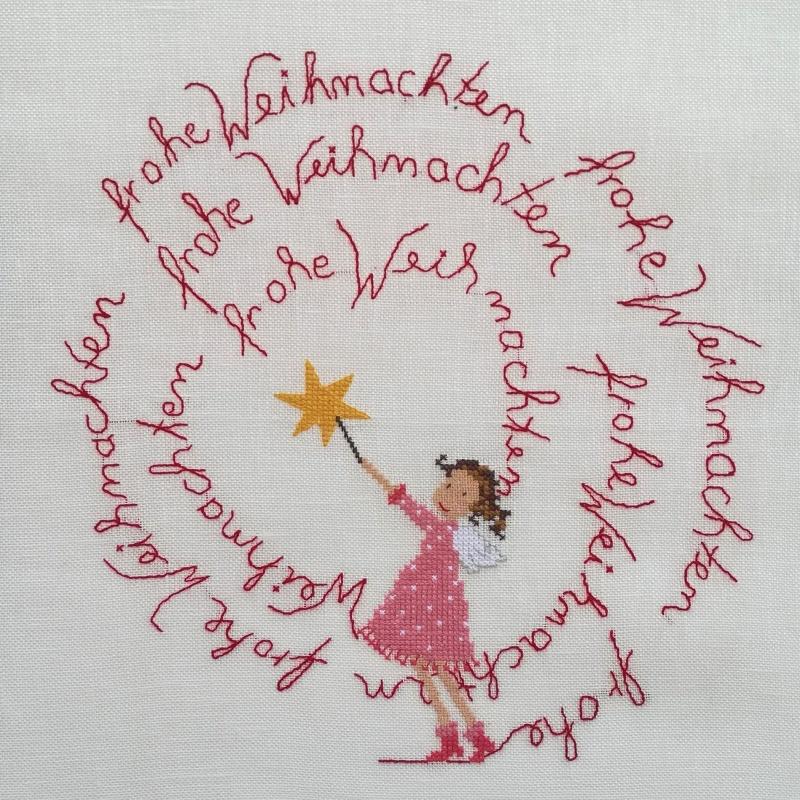 Kleinesbild - Zuckersüßer Weihnachtsengel in Rosa wünscht Frohe Weihnachten ★ auf Leinen gestickt ★