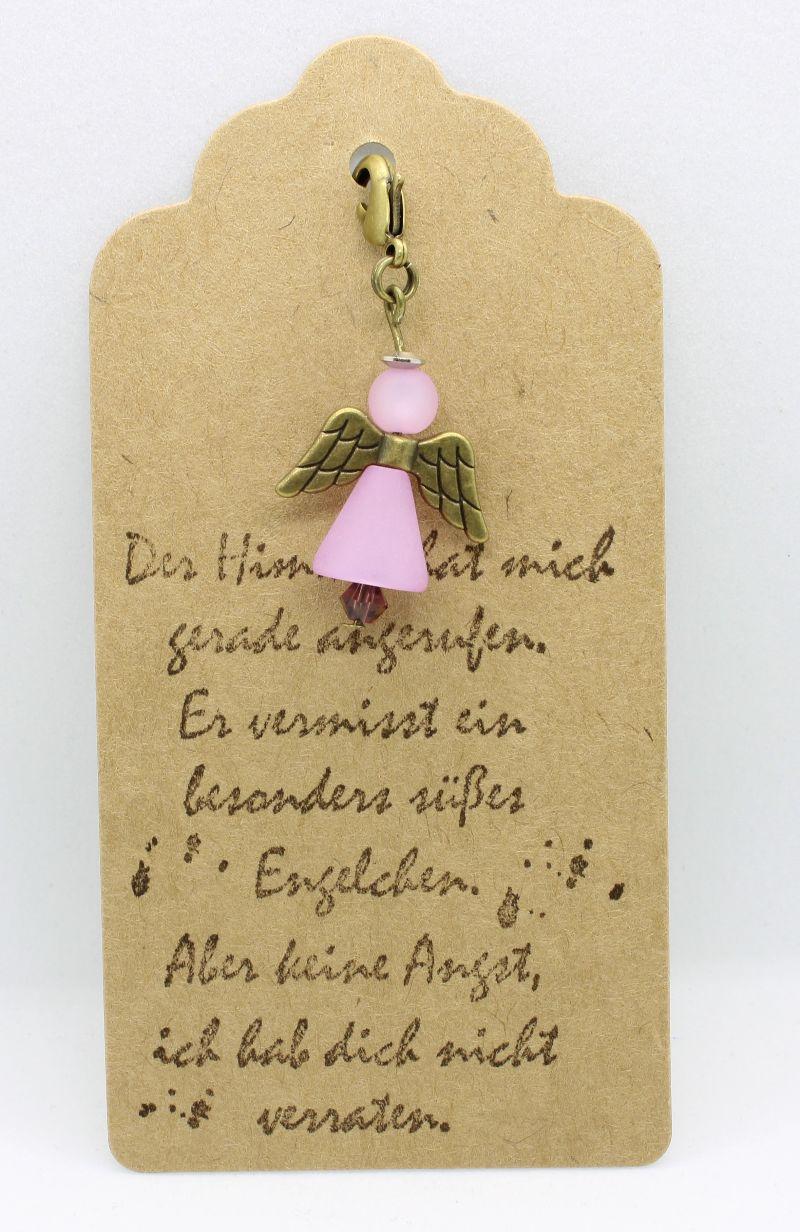 - ♥ Süßer Schutzengel in Rosa aus Polaris-Perlen mit gestempelten Spruch-Anhänger ♥     - ♥ Süßer Schutzengel in Rosa aus Polaris-Perlen mit gestempelten Spruch-Anhänger ♥