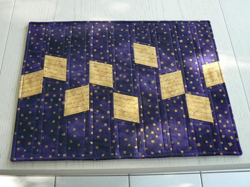 Kleinesbild - Modernes Tischset, blau-violett und gold mit Schrift