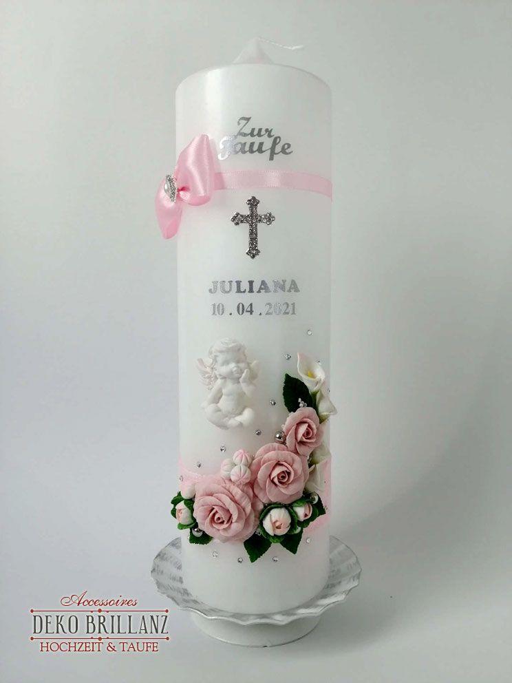 Kleinesbild - NEU Taufkerze Junge Mädchen *Rosenschatz* Kreuz Taube Engel, Rosa, personalisiert mit Beschriftung